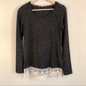 Rewind - Lace Detail Dark Gray Hoodie Sweater Top